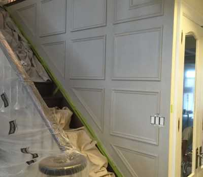 wainscoting stairway project