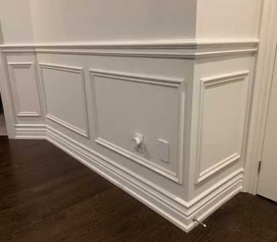 wainscotting trim on wall