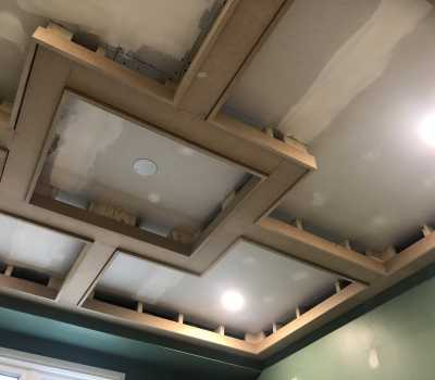 in progress of waffle ceiling installation
