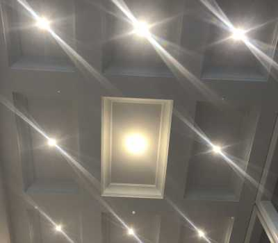 Potlights installation in coffered ceiling