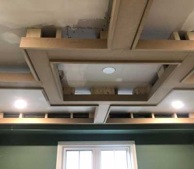 wooden waffle ceiling in progress of install