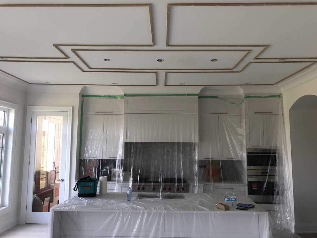 in progress of installing Coffered Ceiling Mississauga