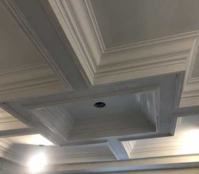 custom coffered ceiling installation