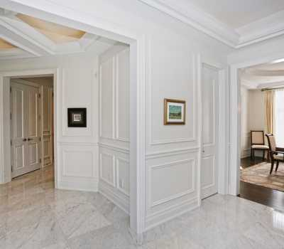 crown moulding and wainscotting