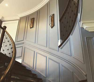 Stairway woodworking wall paneling