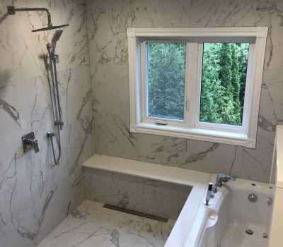luxury shower with place to sit - Bathroom Renovation