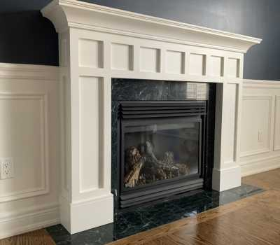 mantel trim on custom fire place toronto