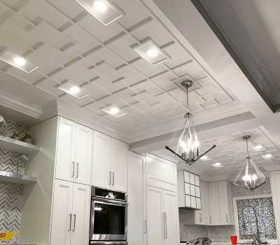modern kitchen with coffered ceiling aurora