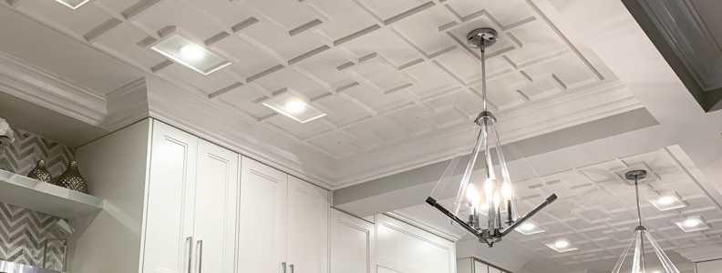 modern kitchen with coffered ceiling aurora