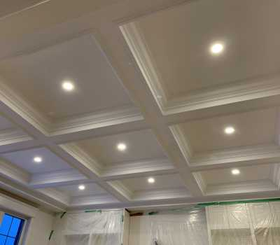 waffle ceiling and potlights in custom living room oakville