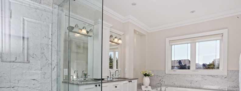 amazing bathroom with crown moudling trim