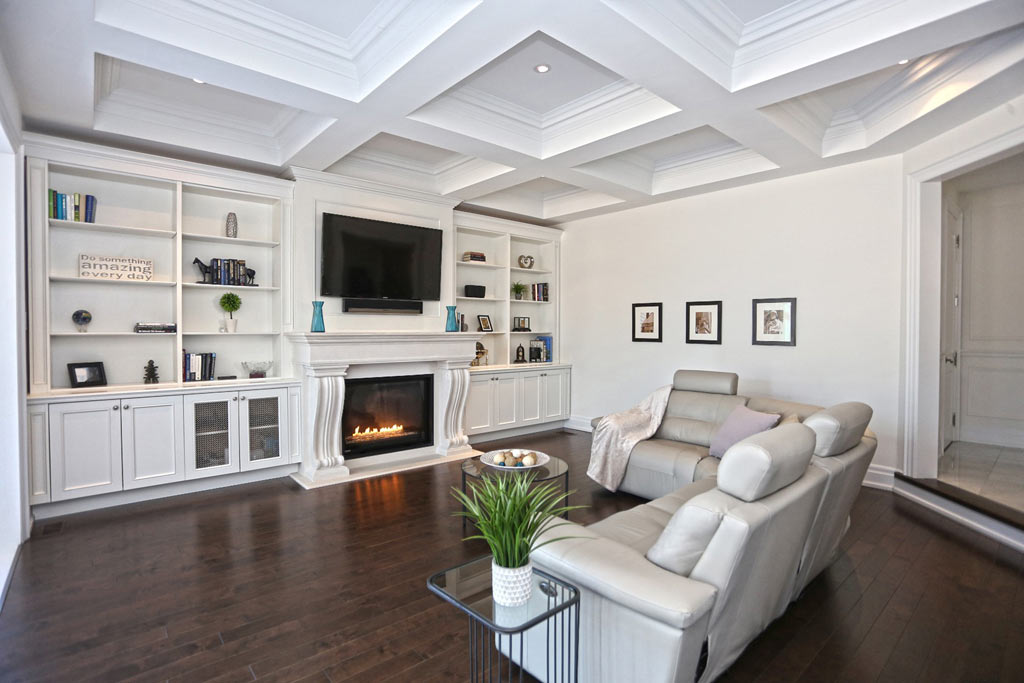 Custom Living Room with Baseboard Trim and Waffle Ceiling Newmarket
