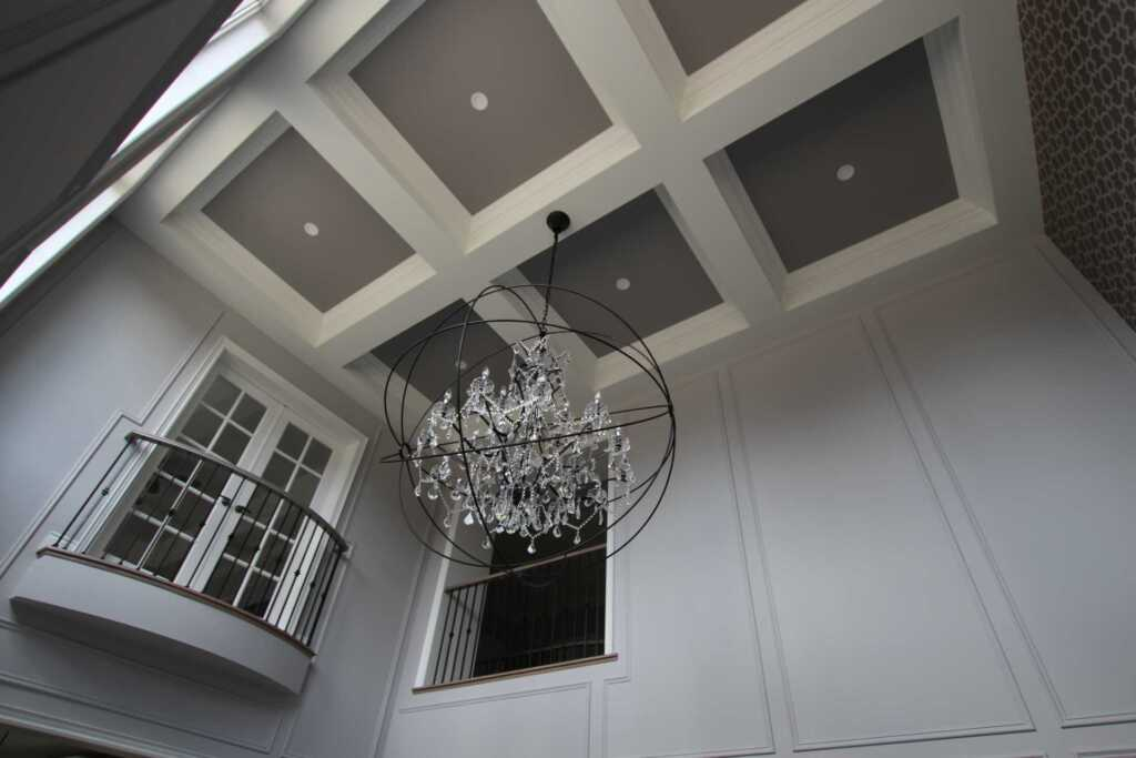 Amazing Coffered Ceiling in Custom Family Room Maple
