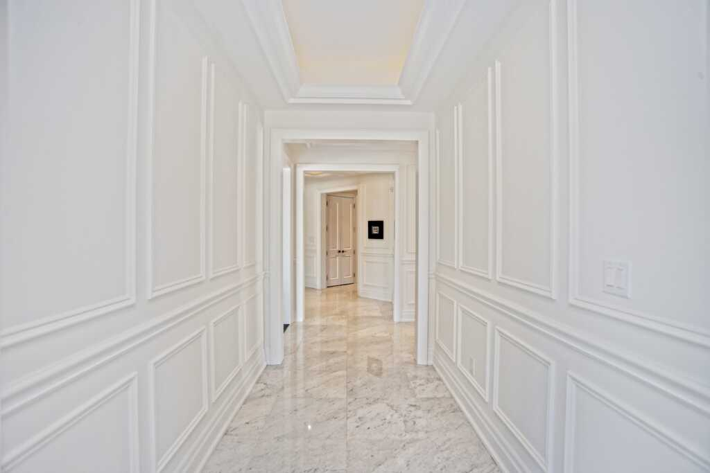 Custom Hallway with Crown Moulding and Wainscoting Wall Decor Brampton