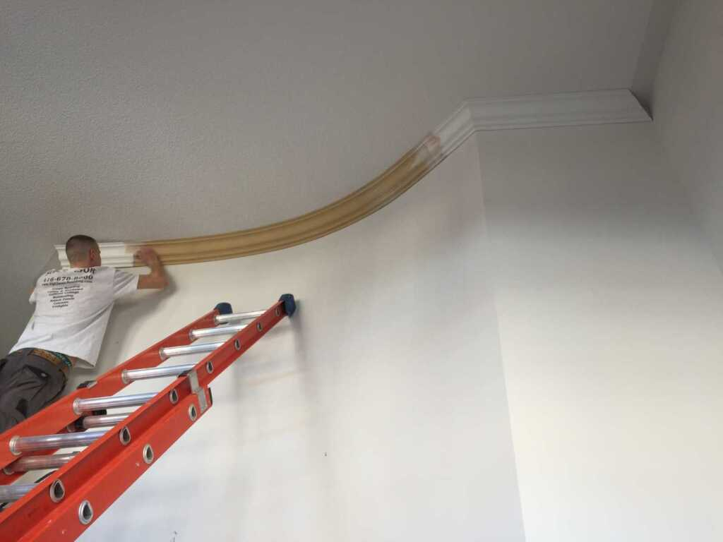 In Progress of Painting Crown Moulding After Installation Mississauga