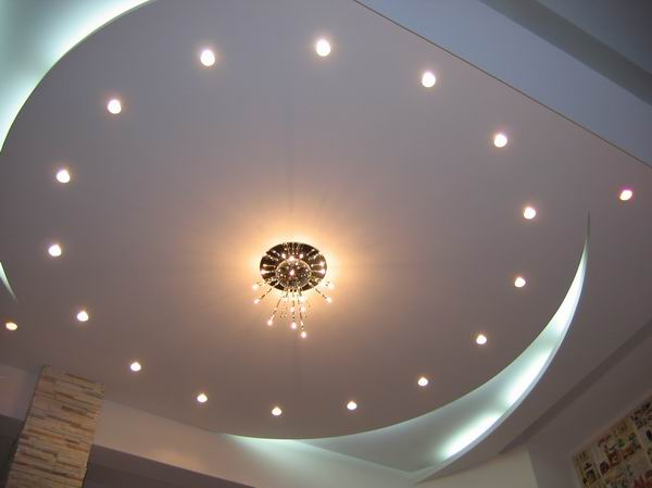 Amazing Backlit Ceiling with Potlights Maple