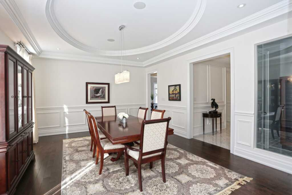 Amazing Dining Room with Crown Molding Maple