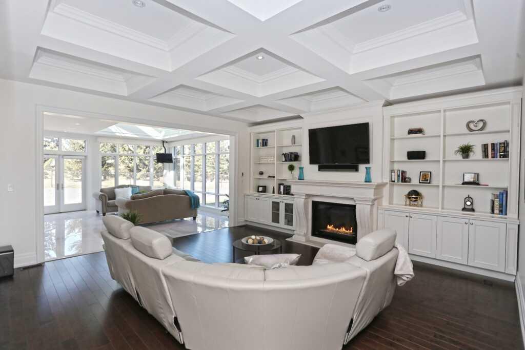Custom Family Room with Amazing Waffle Ceiling Brampton