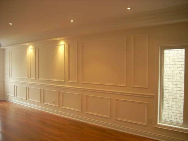 Wainscoting Wall Decor in Amazing Family Room Caledon